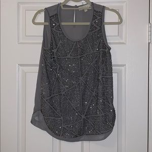 Olive and oak beaded tank